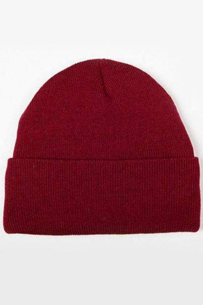 Chic Candy Color Knitted Beanie For Women - WINE RED