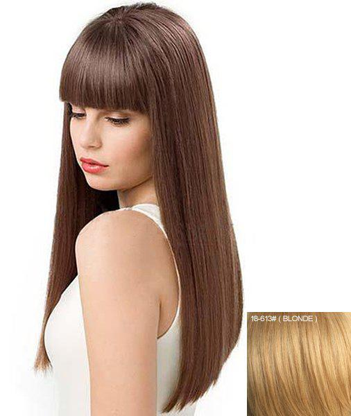 Human Hair Charming Long Capless Elegant Glossy Straight Full Bang Wig For Women - BLONDE