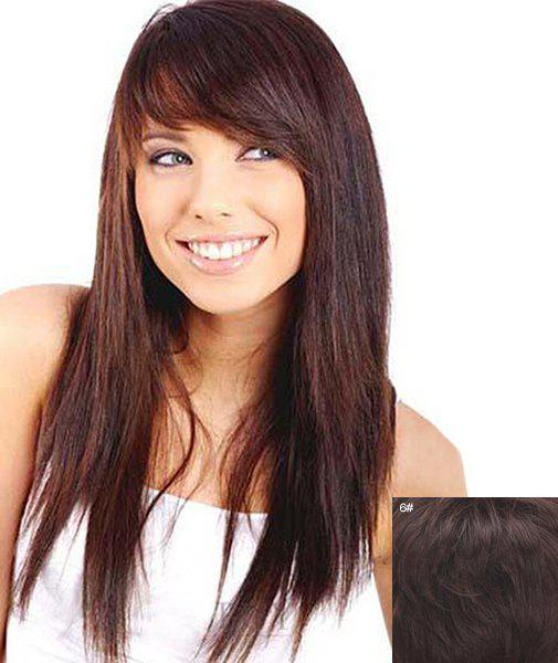 Layered Inclined Bang Assorted Color Long Capless Stunning Straight Human Hair Women's Wig - BLACK BROWN MIXED