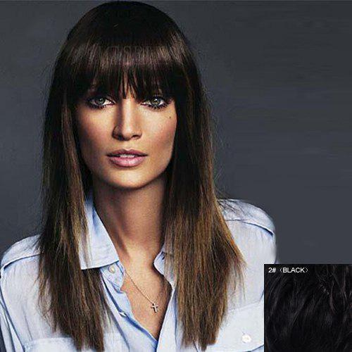 Sophisticated Silky Straight Vogue Full Bang Capless Long Women's Real Natural Hair Wig - BLACK