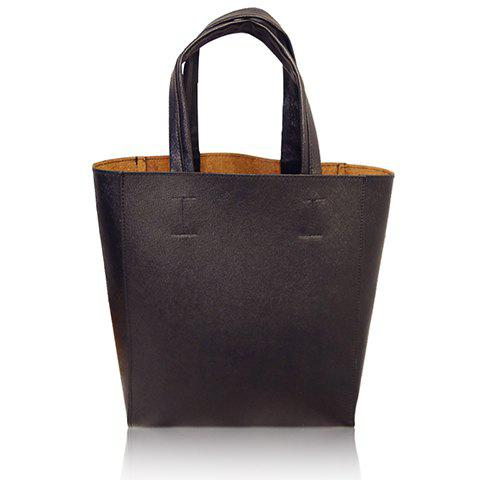 Simple PU Leather and Solid Colour Design Tote Bag For Women - BLACK