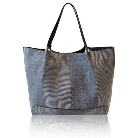 Stylish PU Leather and Embossing Design Shoulder Bag For Women - DEEP GRAY