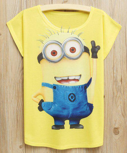 Cute Scoop Neck Character Pattern Short Sleeves T-Shirt For Women - YELLOW ONE SIZE(FIT SIZE XS TO M)