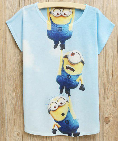 Cute Scoop Neck Cartoon Pattern Short Sleeves T-Shirt For Women - COLORMIX ONE SIZE(FIT SIZE XS TO M)