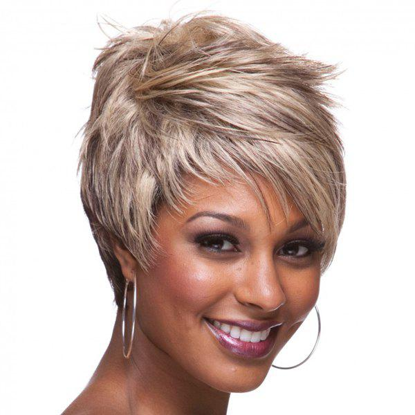 Two-Tone Ombre Capless Bouffant Side Bang Straight Spiffy Ultrashort Synthetic Women's Wig - OMBRE