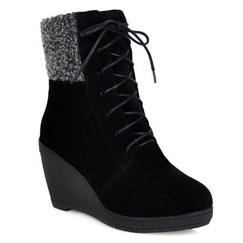 Trendy Splicing and Lace-Up Design Wedge Boots For Women - BLACK 38
