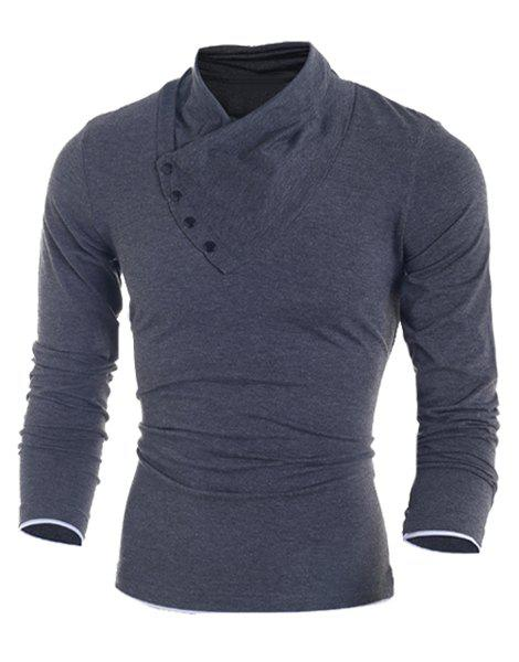 Inclined Single-Breasted Color Block Cuffs Slimming Heaps Collar Long Sleeves Men's T-Shirt - M DEEP GRAY