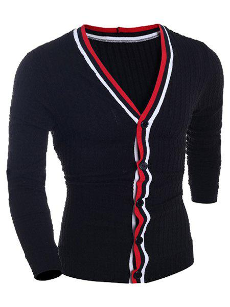 Color Block Braid Button Fly Stripes Pattern V-Neck Long Sleeves Men's Slimming Cardigan - BLACK 2XL