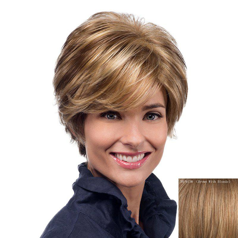 Nobby Skilful Short Haircut Wave Capless Real Human Hair Wig With Inclined Bang For Women - BROWN/BLONDE