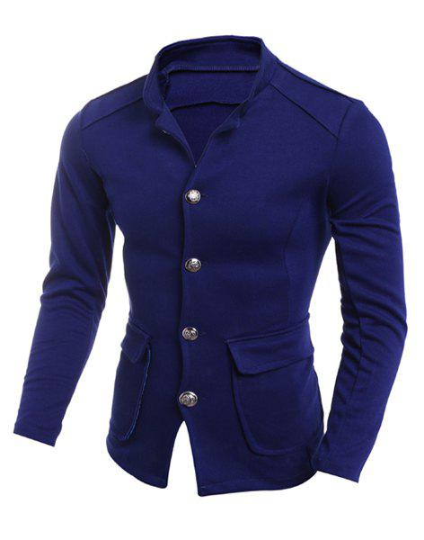 Slimming Stand Collar Large Patch Pocket Solid Color Single-Breasted Men's Long Sleeves Blazer - DEEP BLUE XL