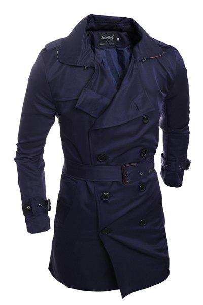 Personality Back Slit Elegant Belt Epaulet Design Slimming Turn-down Collar Long Sleeves Men's Peacoat - CADETBLUE 2XL