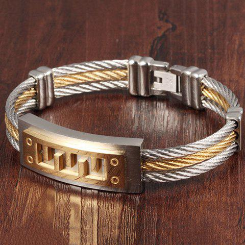 Steel Cable Wire Layered Bracelet - GOLDEN
