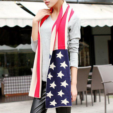 Chic Stars and Stripes Pattern Knitted Scarf For Women - BLUE