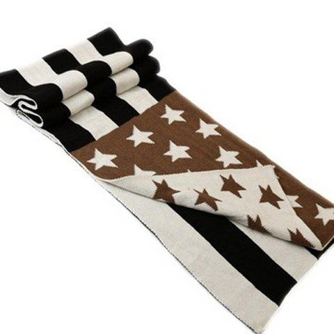 Chic Stars and Stripes Pattern Knitted Scarf For WomenAccessories<br><br><br>Color: COFFEE
