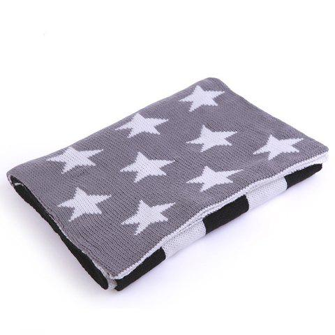 Chic Stars and Stripes Pattern Women's Knitted Scarf - GRAY