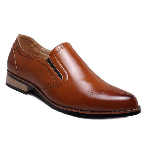 Retro Style Engraving and Solid Color Design Formal Shoes For Men - BROWN 42