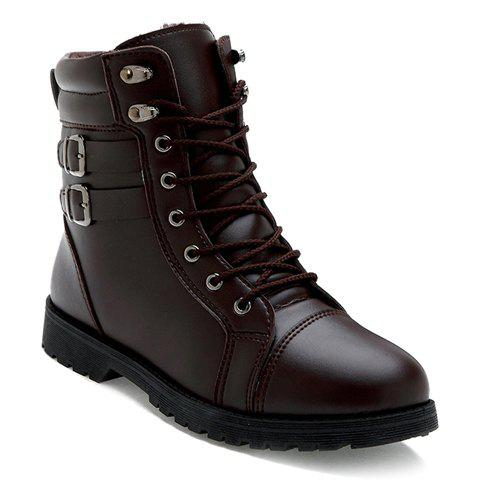 Stylish Stitching and Double Buckle Design Boots For Men - BROWN 40