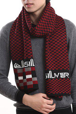Stylish Checked and Letter Pattern Men's Knitted Scarf