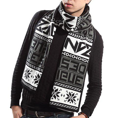 Stylish Capital Letters and Snowflakes Pattern Knitted Scarf For Men - BLACK