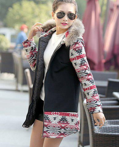 Stylish Hooded Printed Long Sleeves Coat and Vest For Women - BLACK M