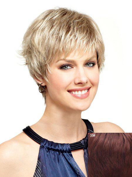 Spiffy Ultrashort Side Bang Towheaded Wavy Capless Human Hair Wig For Women - DARK AUBURN BROWN