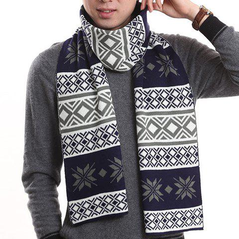 Stylish Snowflake and Rhombus Pattern Knitted Scarf For Men - CADETBLUE