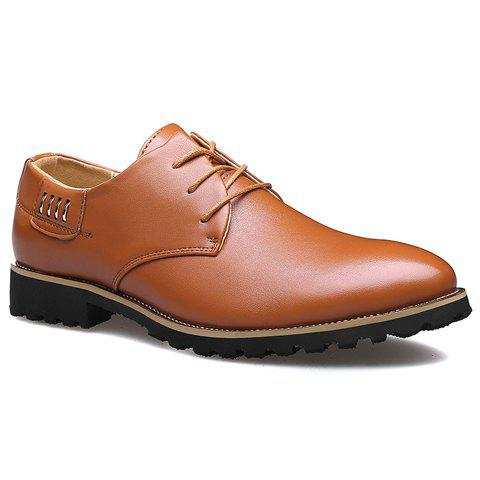 Stylish Metal and Lace-Up Design Formal Shoes For Men - LIGHT BROWN 42