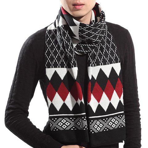Stylish Rhombus Pattern Knitted Scarf For Men - RED