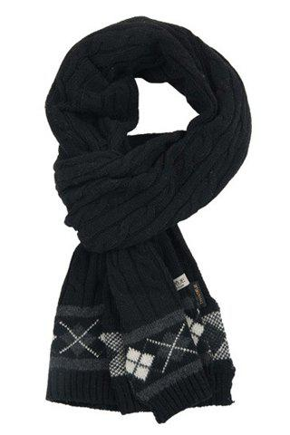 Stylish Rhombus Pattern Edge Hemp Flowers Knitted Scarf For Men - BLACK