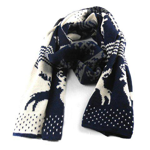 Stylish Cartoon Deer and Stripe Pattern Knitted Scarf For Men - CADETBLUE