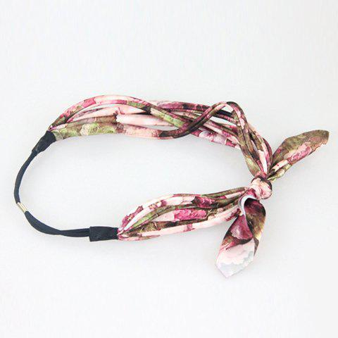 Delicate Flower Print Rabbit Ear Hairband For Women - RANDOM COLOR PATTERN
