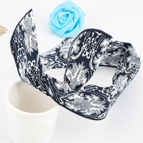 Fashionable Flower Print Color Block Rabbit Ear Hairband For Women