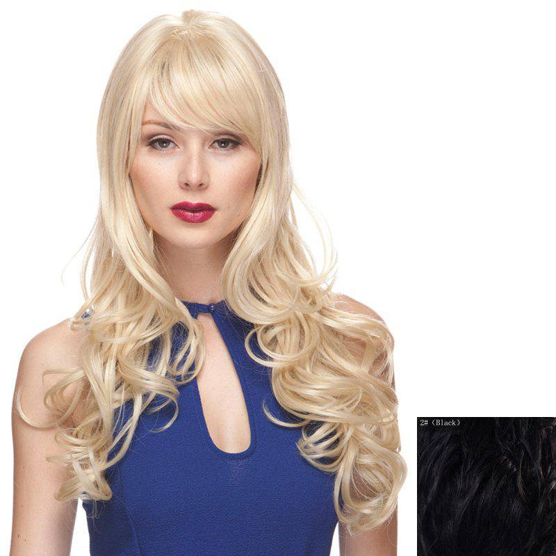 Charming Side Bang Shaggy Wavy Long Capless 100 Percent Human Hair Women's Wig