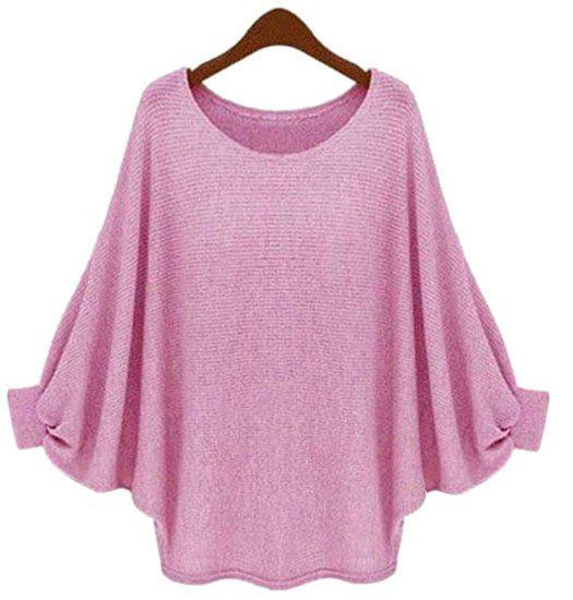 Casual Solid Color Batwing Sleeve Loose Pullover Sweater For Women - ROSE ONE SIZE(FIT SIZE XS TO M)