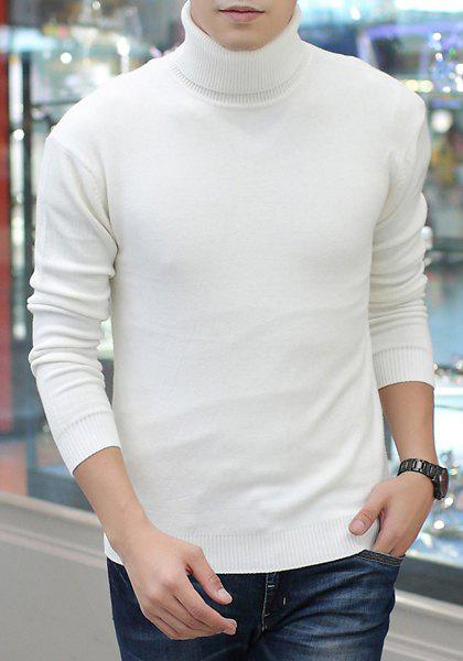 Contracted Fashion Long Sleeves Solid Color Slimming Men's Turtleneck Sweater - WHITE M