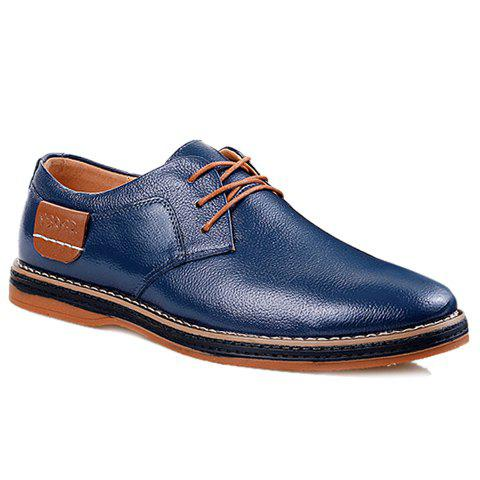 Simple Style Round Toe and Solid Color Design Formal Shoes For Men - BLUE 43