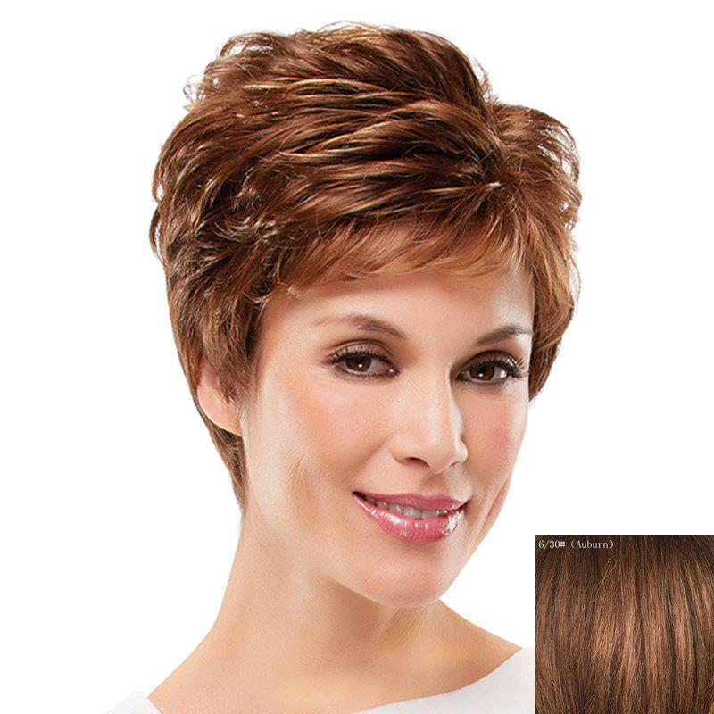 Towheaded Curly Assorted Color Ultrashort Elegant Side Bang Women's Human Hair Wig - AUBURN
