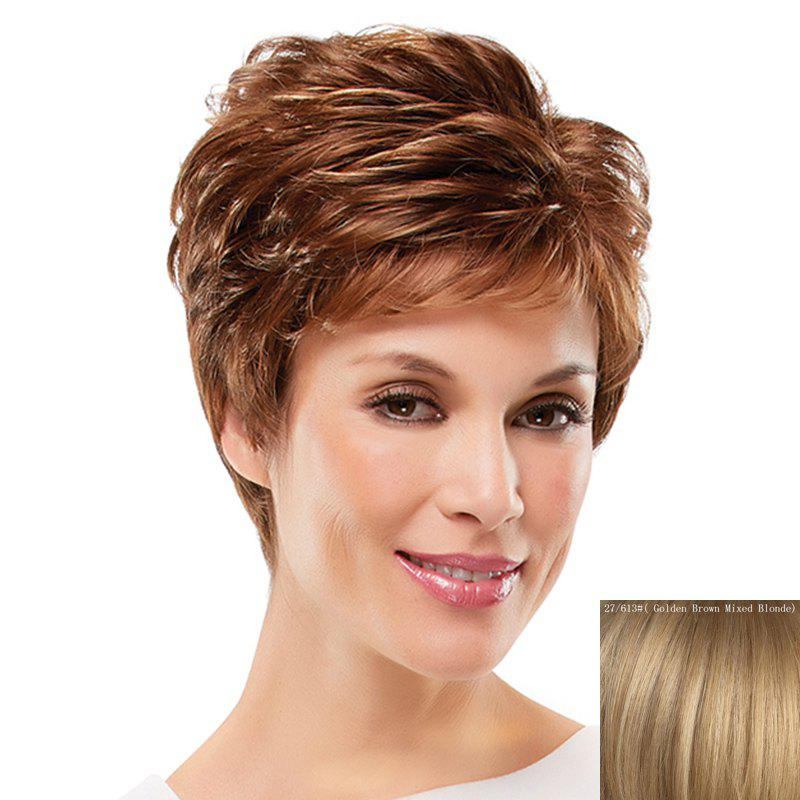 Towheaded Curly Assorted Color Ultrashort Elegant Side Bang Women's Human Hair Wig - ASH BLONDE /