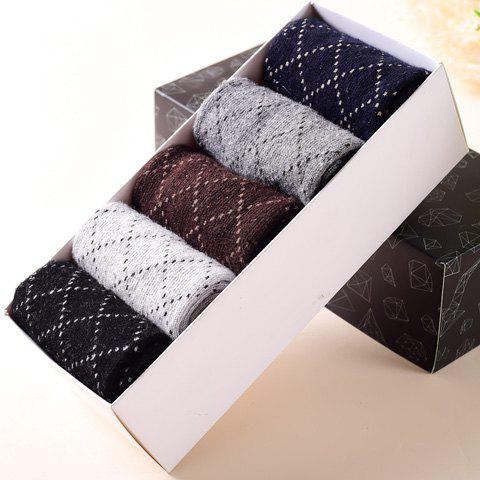 5 Pairs of Stylish Dash Line Plaid Pattern Men's Knitted Socks - COLORMIX