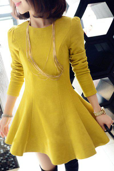 Stylish Round Neck Long Sleeve Solid Color A Line Women's Dress - YELLOW S