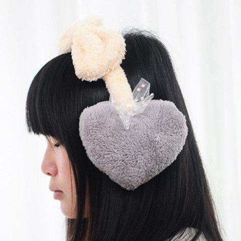 Chic Lace Bow Embellished Heart Shape Faux Fur Women's Earmuff