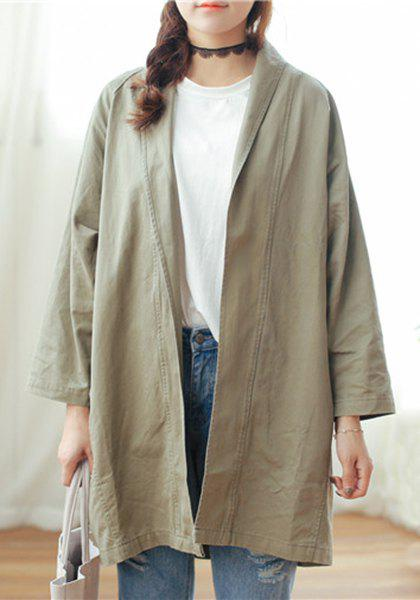 Simple Long Sleeve Pure Color Loose Coat For Women - ARMY GREEN M