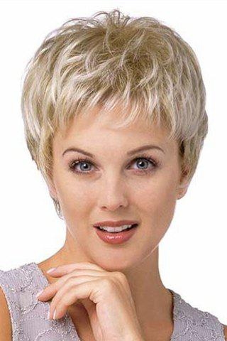 Spiffy Ultrashort Fluffy Natural Wavy Vogue Full Bang Capless Two-Tone Mixed Synthetic Wig For Women - COLORMIX
