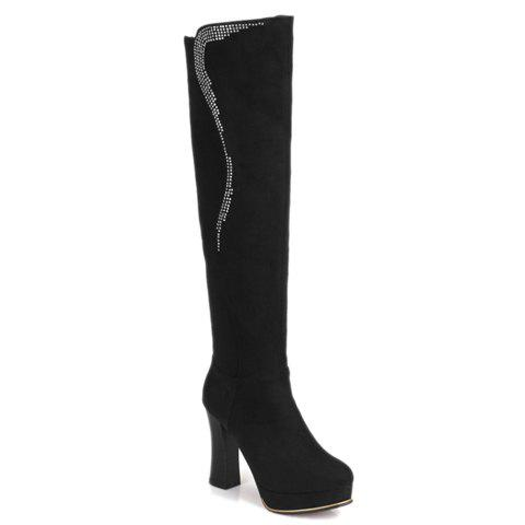 Fashionable Platform and Rhinestones Design Knee-High Boots For Women - BLACK 39