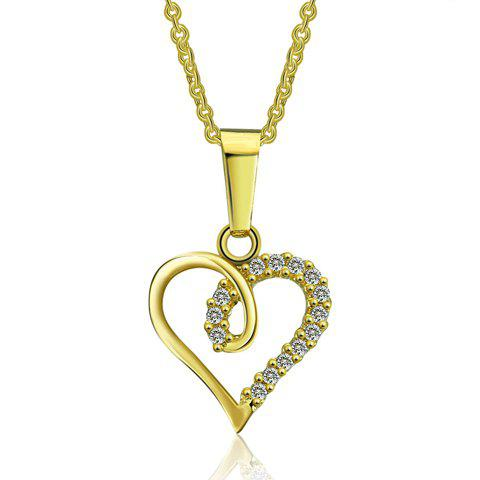 Trendy Rhinestone Hollow Out Heart Necklace For Women - GOLDEN