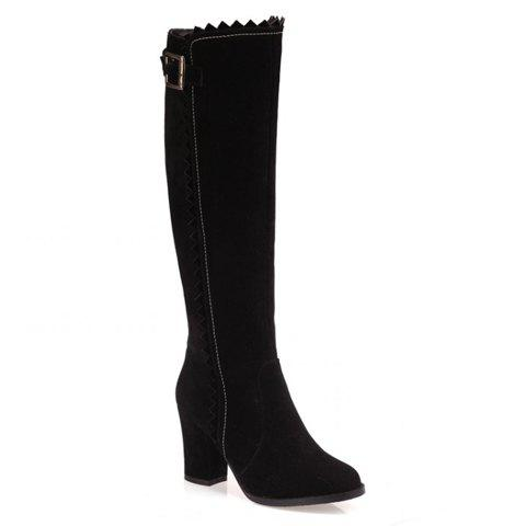 Stylish Wave and Buckle Design Boots For Women - 37 BLACK