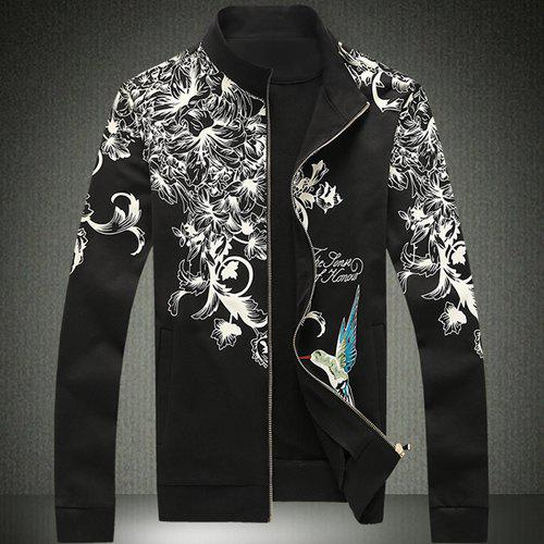 Stand Collar Flower Bird and Letter Print Slimming Long Sleeve Men's Jacket - BLACK 2XL