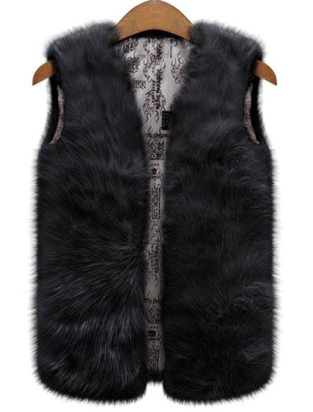 Fashionable V-Neck Pure Color Faux Fur Women's Waistcoat - BLACK XL