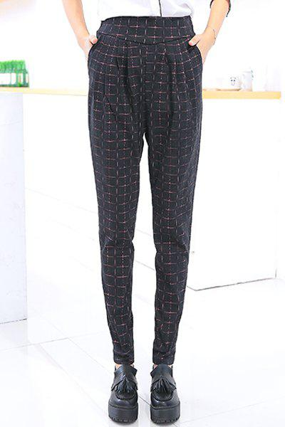 Fashionable Checked Print Narrow Feet Women's Pants - BLACK XL