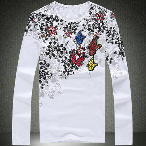 Round Neck Flower and Butterfly Print Slimming Long Sleeve Men's T-Shirt - 3XL WHITE